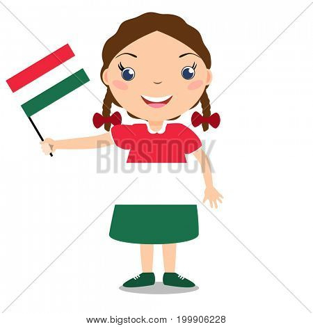 Smiling chilld, girl, holding a Hungary flag isolated on white background. Cartoon mascot. Holiday illustration to the Day of the country, Independence Day, Flag Day.
