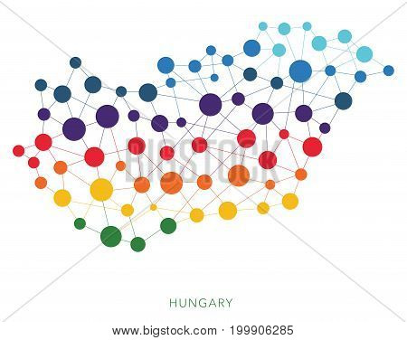 dotted texture Hungary vector rainbow colorful background