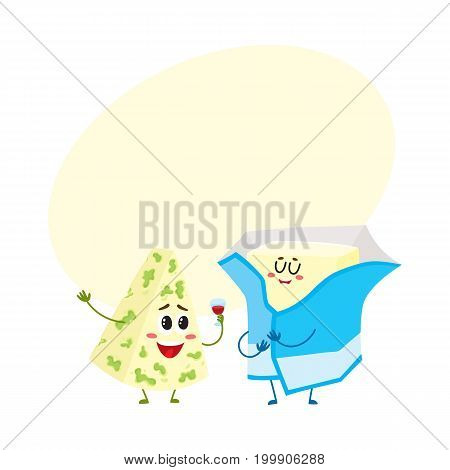 Funny blue cheese and butter wrapped in foil characters with smiling human faces, cartoon vector illustration with space for text. Cute blue cheese, cream butter characters, dairy mascots