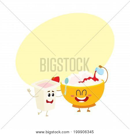 Smiling bowl of cottage cheese and yougurt cup characters, healthy breakfast ingredients, cartoon vector illustration with space for text. Funny cottage cheese bowl and yougurt cup character