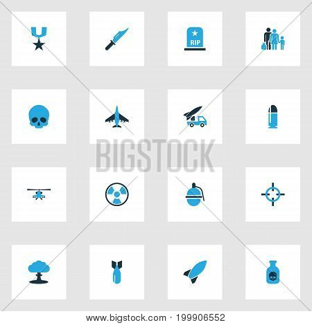 Warfare Colorful Icons Set. Collection Of Explosion, Grenade, Fighter And Other Elements