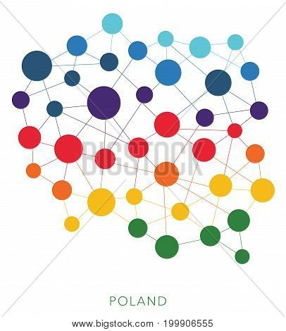 dotted texture Poland vector rainbow colorful background