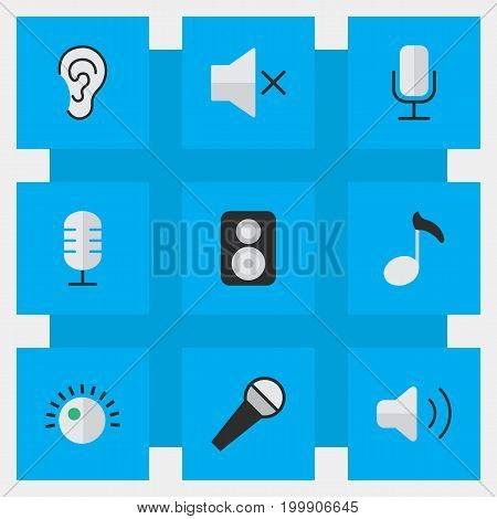 Elements Speaker, Record, Volume And Other Synonyms Ear, Loudness And Mute.  Vector Illustration Set Of Simple Sound Icons.