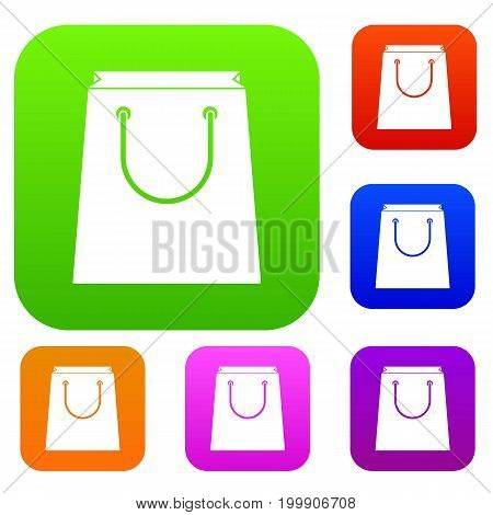 Paper shopping bag set icon in different colors isolated vector illustration. Premium collection