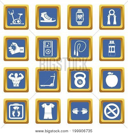 Fitness icons set in blue color isolated vector illustration for web and any design