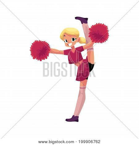 vector cartoon smiling cheerleader blond girl character dancing with pom-poms doing splits. Isolated illustration ona white background.