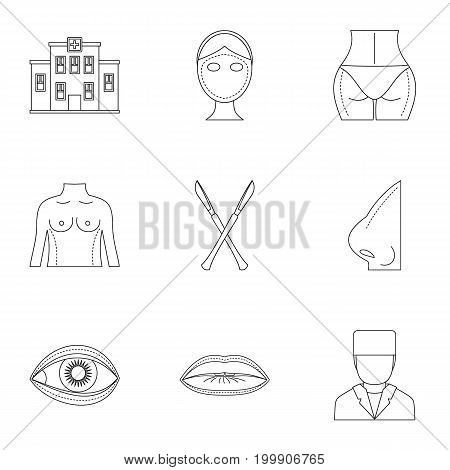 Cosmetic surgery icon set. Outline style set of 9 cosmetic surgery vector icons for web isolated on white background