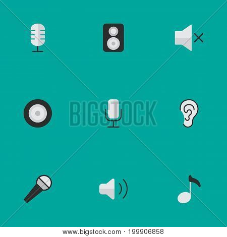 Elements Note, Mike, Record And Other Synonyms Hear, Mute And Volume.  Vector Illustration Set Of Simple Sound Icons.