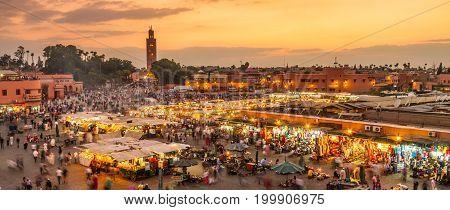 Jamaa el Fna market square, Marrakesh, Morocco, north Africa. Jemaa el-Fnaa, Djema el-Fna or Djemaa el-Fnaa is a famous square and market place in Marrakesh's medina quarter.