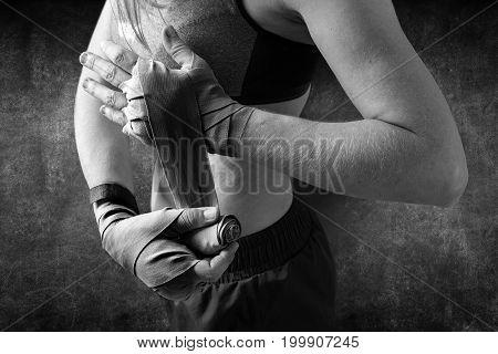 Female Hands Preparation Bandages Black White