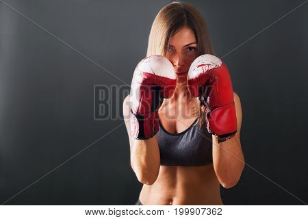 Portrait Woman Boxing Gloves Dark Background