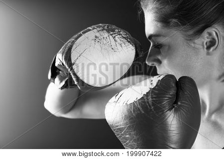 Close Up Red Boxing Gloves On Woman Fighter