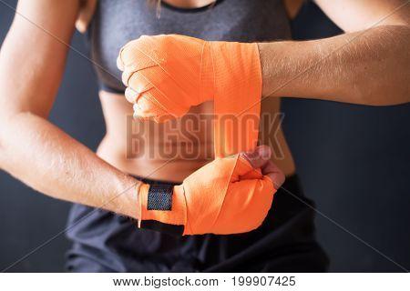 Closeup Female Hands Wearing Boxing Bandages