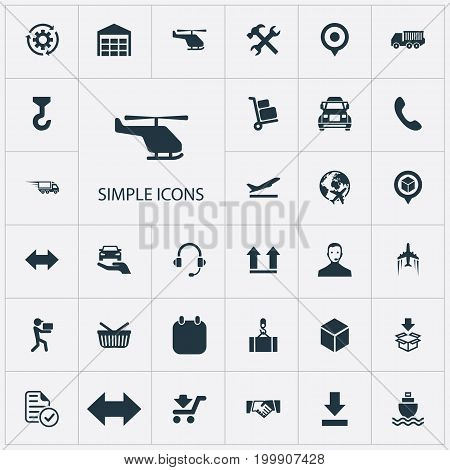 Elements Bottom Side, Marker, Protect Car And Other Synonyms Box, Period And Store.  Vector Illustration Set Of Simple Systematization Icons.