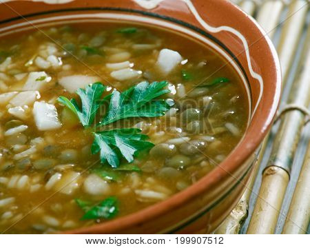 Ashe Berenj - Rice Persian soup studio close up meal