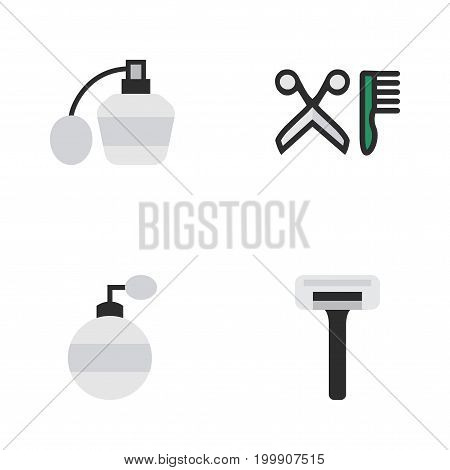 Elements Comb, Shaver, Perfume And Other Synonyms Bottle, Scissors And Comb.  Vector Illustration Set Of Simple Barber Icons.