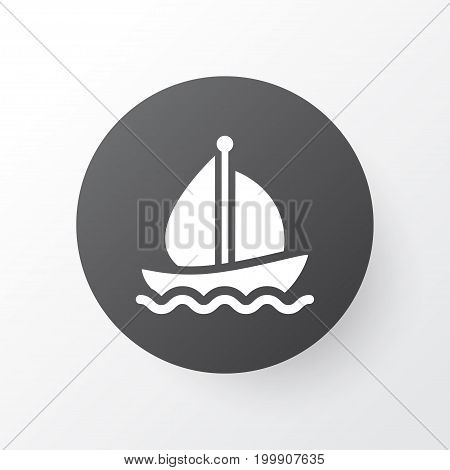 Premium Quality Isolated Sail Ship Element In Trendy Style.  Boat Icon Symbol.