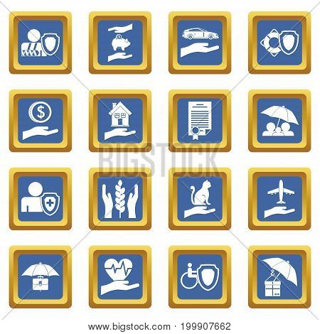 Insurance icons set in blue color isolated vector illustration for web and any design
