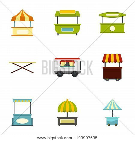 Street stall icon set. Flat style set of 9 street stall vector icons for web isolated on white background