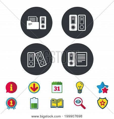 Accounting icons. Document storage in folders sign symbols. Calendar, Information and Download signs. Stars, Award and Book icons. Light bulb, Shield and Search. Vector