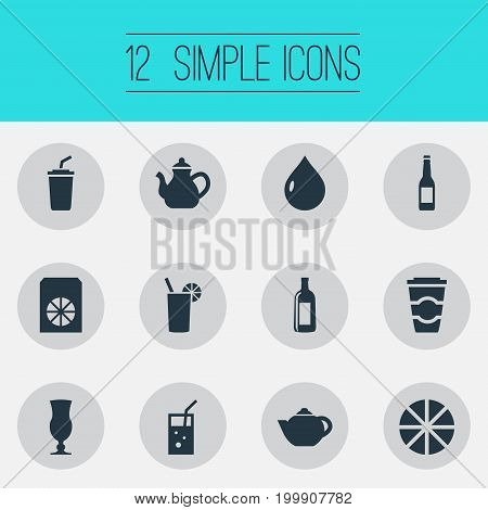 Elements Soda, Latte, Cognac And Other Synonyms Away, Take And Drop.  Vector Illustration Set Of Simple Drinks Icons.