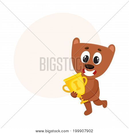 Cute little teddy bear character, champion holding golden winner cup, cartoon vector illustration with space for text. Little baby bear animal champion holding cup for taking first place