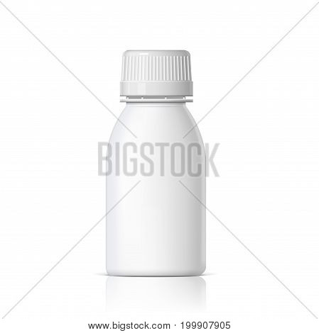 Cool Realistic White plastic bottle. Product Packing medicine. Various fluids Vector Illustration