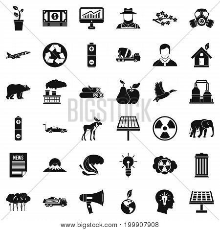 Eco care icons set. Simple style of 36 eco care vector icons for web isolated on white background