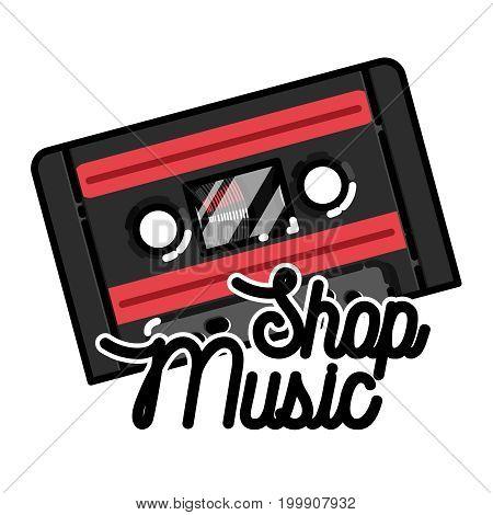 Color vintage music shop emblem for use music store, record studio, sound technology etc. Vector Illustration