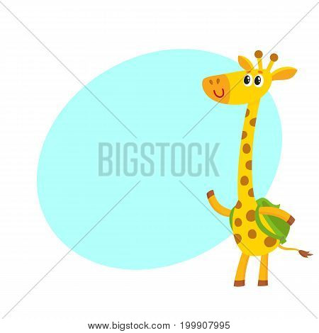 Cute little giraffe animal student character with backpack, back to school concept, cartoon vector illustration with space for text. Little giraffe student with backpack, greeting gesture
