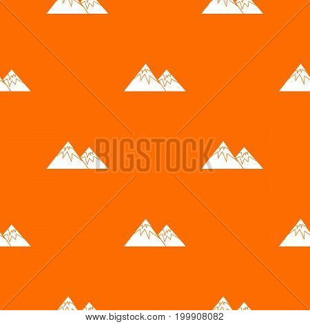 Swiss alps pattern repeat seamless in orange color for any design. Vector geometric illustration