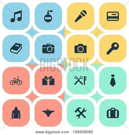 Elements Cravat, Fragrance, Suitcase And Other Synonyms Textbook, Sweatshirt And Credit.  Vector Illustration Set Of Simple Equipment Icons.