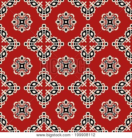 Red tribal ethnic seamless pattern. Abstract texture in bright colors. Vector illustration.
