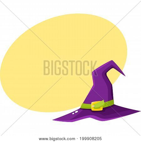 Purple witch, wizrd pointed hat, Halloween decoration element, cartoon vector illustration with space for text. Cartoon witch hat, Halloween object, decoration element