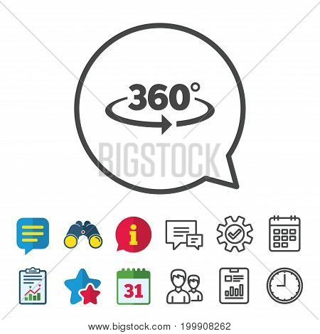 Angle 360 degrees sign icon. Geometry math symbol. Full rotation. Information, Report and Calendar signs. Group, Service and Chat line icons. Vector