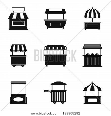 Market tent icon set. Simple style set of 9 market tent vector icons for web isolated on white background