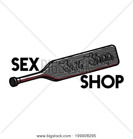 Color vintage sex shop emblem. Vector illustration, EPS 10