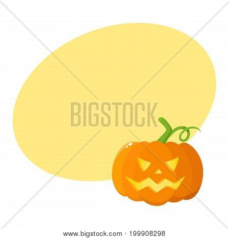 Jack o lantern, ripe orange pumpkin with carved scary face , traditional Halloween symbol, cartoon vector illustration with space for text. Cartoon style Halloween pumpkin, jack o lantern