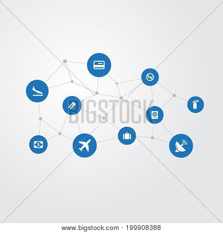 Elements Alighting Plane, Handbag, Currency Synonyms Landing, Card And Smoke.  Vector Illustration Set Of Simple Plane Icons.