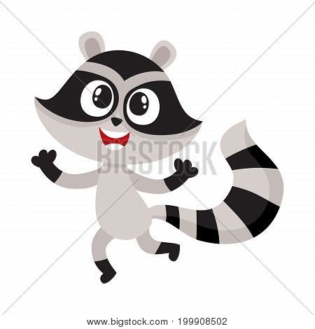 Cute happy raccoon character raising paws in welcoming gesture, cartoon vector illustration isolated on white background. Happy little raccoon character, mascot jumping from happiness, feeling joy