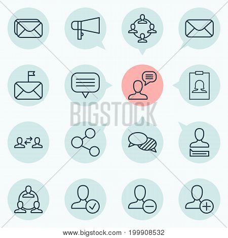 Network Icons Set. Collection Of Message, Bullhorn, Teamwork And Other Elements