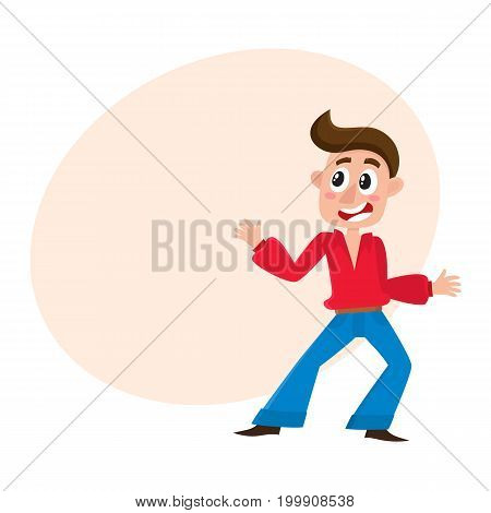 Young man in retro bell-bottomed trousers dancing dicso, cartoon vector illustration with space for text. Young man, guy with forelock dancing at retro disco party in bell-bottomed pants