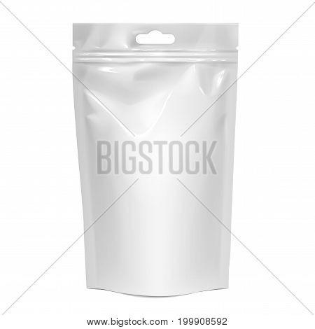 White realistic Polyethylene bag with Hang Slot. Mock up for brand template. vector illustration.