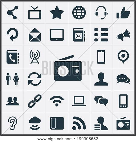 Elements Palmtop, Thumb, Wave And Other Synonyms User, Conference And Dialog.  Vector Illustration Set Of Simple Communication Icons.