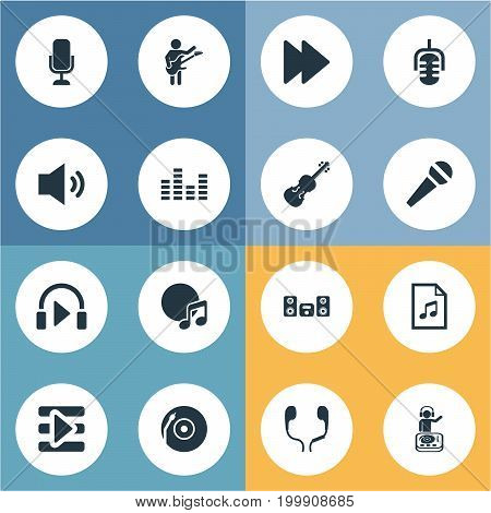 Elements Microphone, Listen, Record And Other Synonyms Violin, Equalizer And Stabilizer.  Vector Illustration Set Of Simple Music Icons.