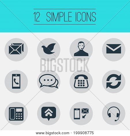 Elements Correspondence, Freedom Pigeon, Hotline And Other Synonyms Newsletter, Incoming And Email.  Vector Illustration Set Of Simple Connect Icons.