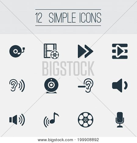 Elements Sound, Microphone, Tape And Other Synonyms Wave, Web And Amplifier.  Vector Illustration Set Of Simple Dj Icons.