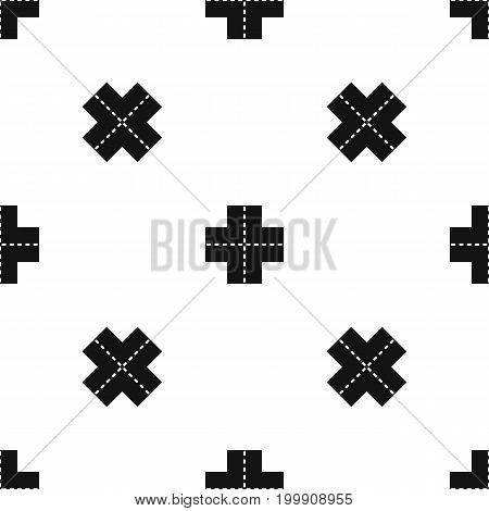 Crossroad pattern repeat seamless in black color for any design. Vector geometric illustration