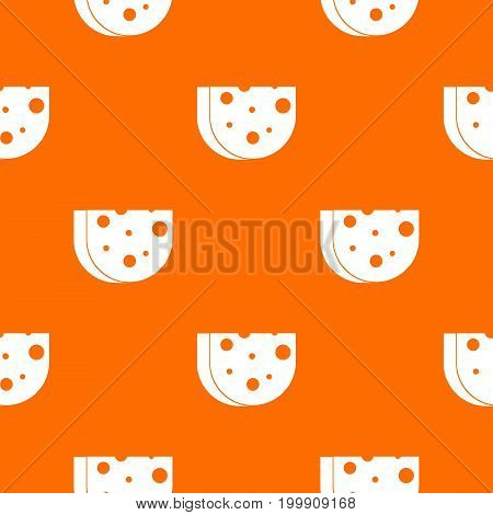 Piece of Swiss cheese pattern repeat seamless in orange color for any design. Vector geometric illustration