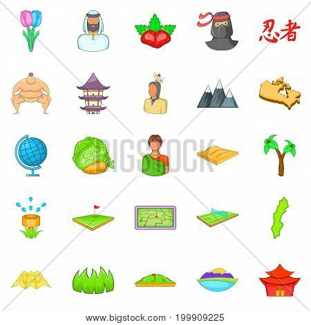 Mountain icons set. Cartoon set of 25 mountain vector icons for web isolated on white background